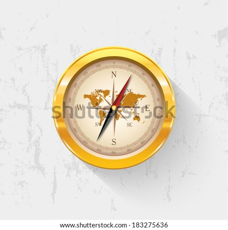 golden vintage compass vector