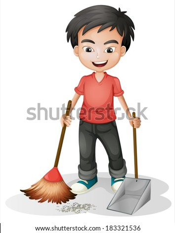illustration of a boy sweeping