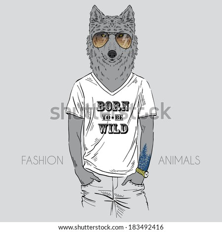 illustration of wolf dressed up