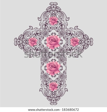 vintage ornate christian cross