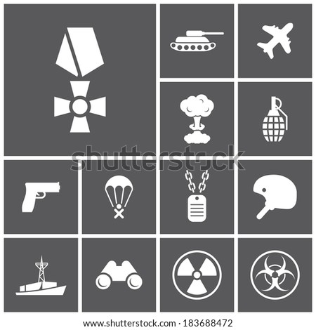 set of flat dark simple icons