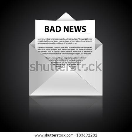 bad news concept text page in