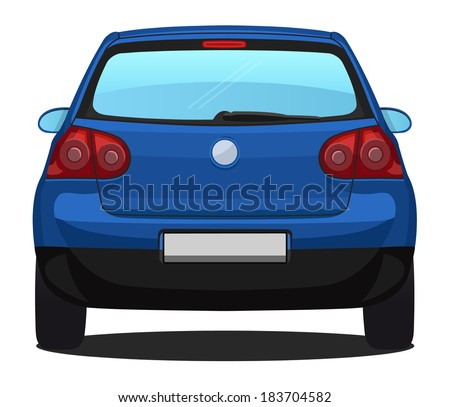 vector car   back view   blue
