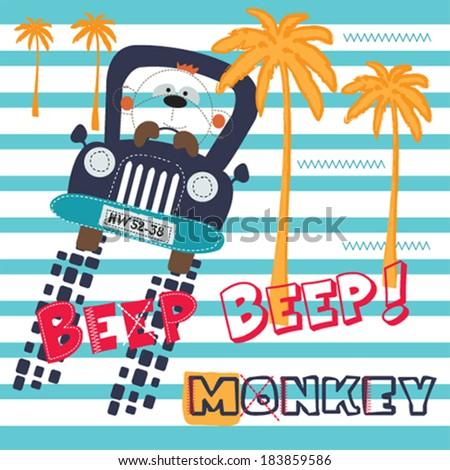 cute monkey in the car vector