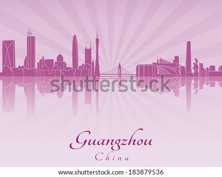 guangzhou skyline in purple