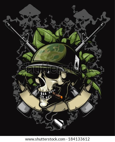 soldier skull with helmet