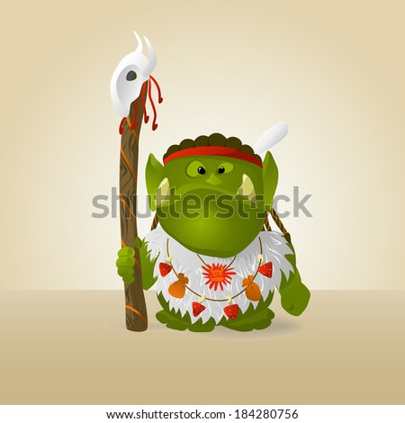 funny orc shaman a vector