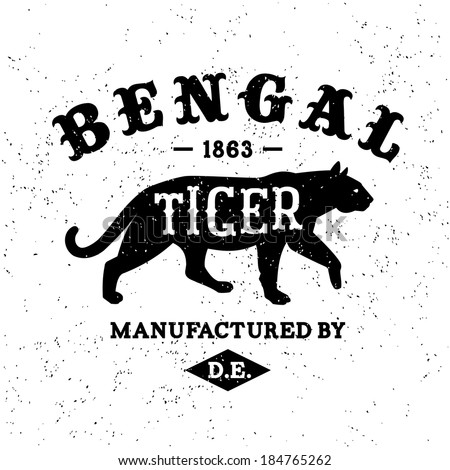 vintage label bengal tiger   t