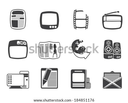 silhouette media icons   vector