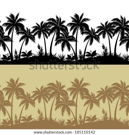 palm trees  flowers and grass