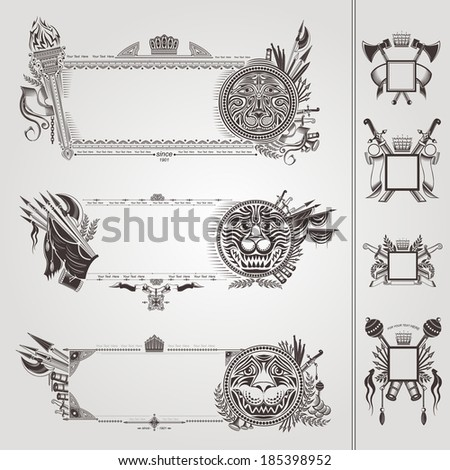 military heraldic banners with