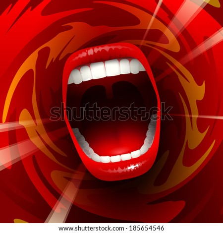 open mouth shouting or singing