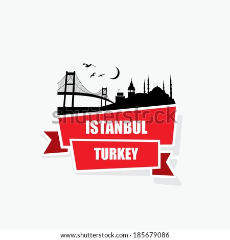 istanbul ribbon banner   vector