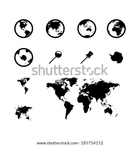 vector black world map icons