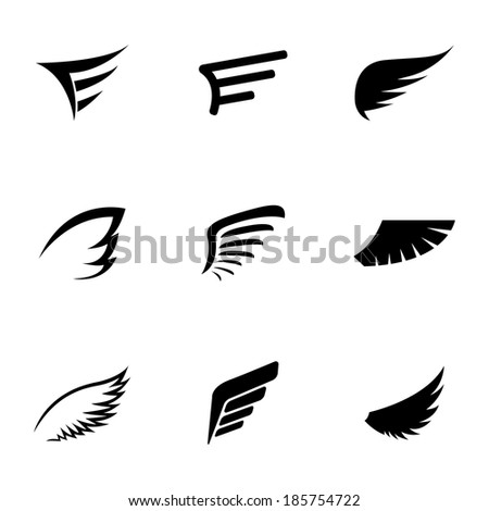 vector black wing icons set on