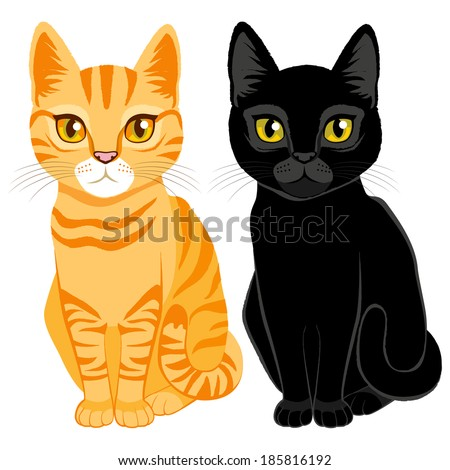 cute cats on orange tabby and