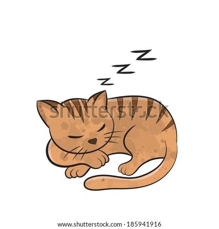 cat sleep cartoon   vector