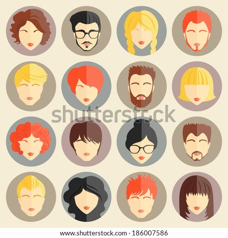 set of stylish avatars of girls