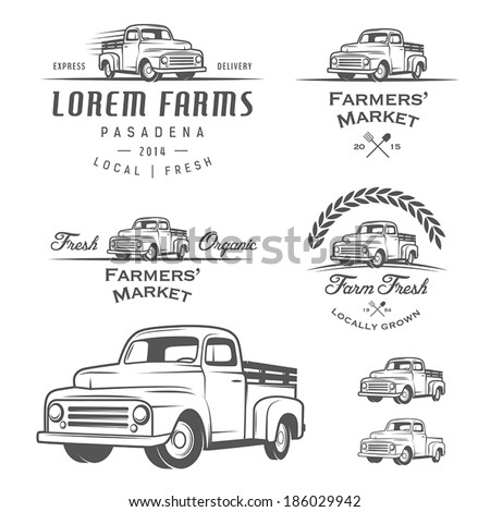 set of retro farming labels
