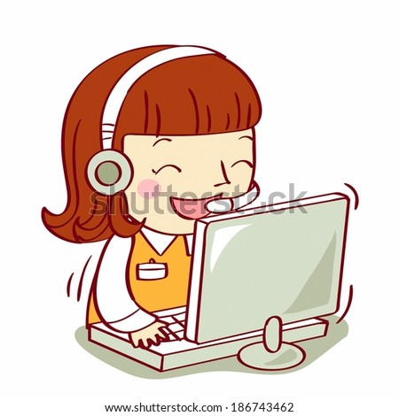 brown haired girl using computer