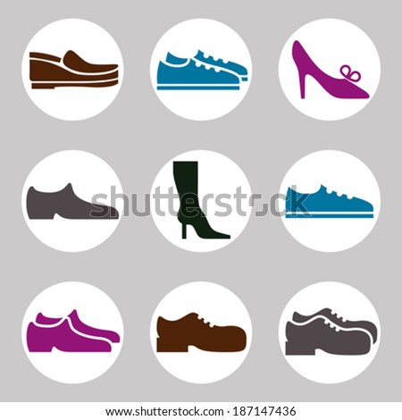 footwear icon vector set