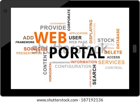 a word cloud of web portal