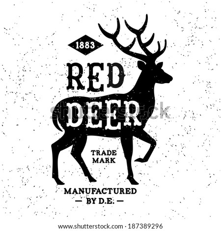 vintage label red deer   t
