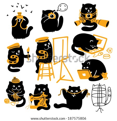 set of black cats creative