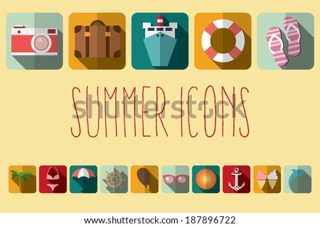 summer vacation flat icons with