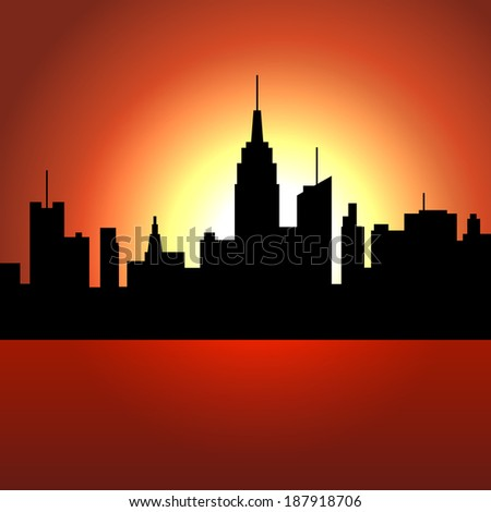 sunset over city skyscrappers
