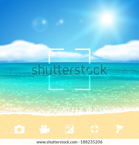 seascape with beach vector