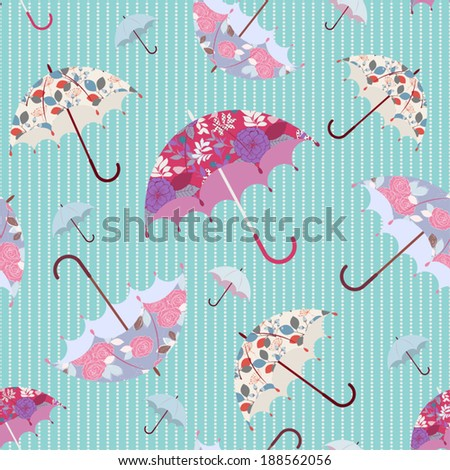 retro stylized umbrellas with