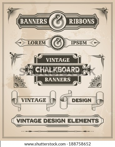 vintage retro hand drawn banner