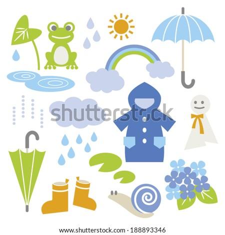 set of rainy season elements
