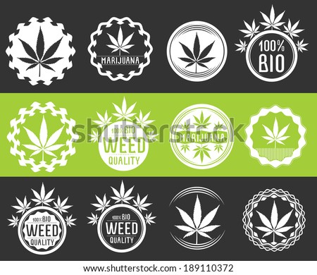 set of cannabis and marijuana