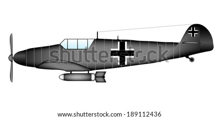 german ww2 fighter on white