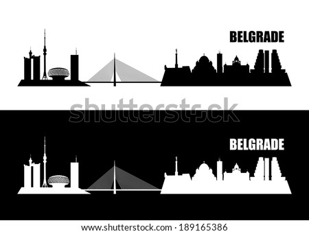 belgrade skyline   vector
