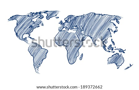 Vector world map drawing free vector download 91768 Free vector