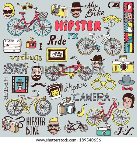 hipsters and bikes set vector