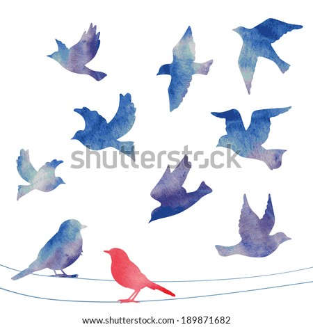 set of birds silhouettes