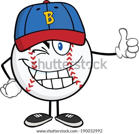 winking baseball ball cartoon
