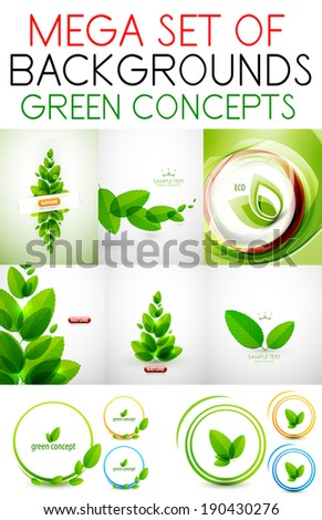 vector mega set of green