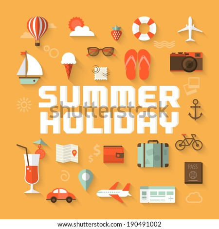 summer holiday flat icons with