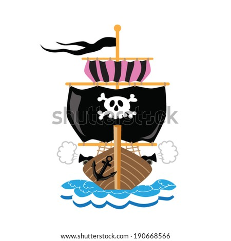 pirate ship colorful vector