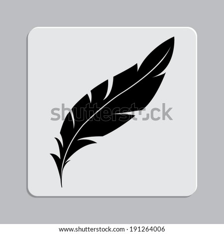 feather icon on a grey flat