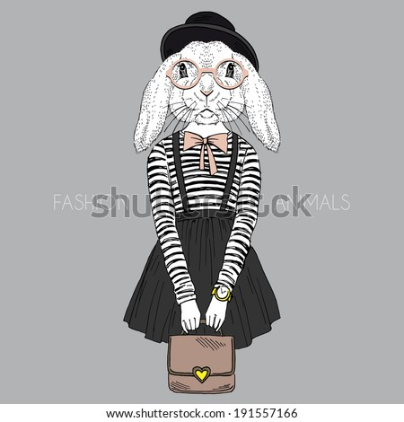 fashion illustration of bunny