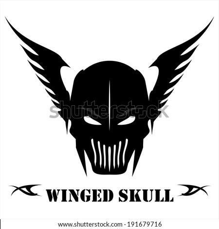 black winged skull