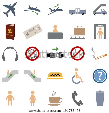 vector set of 25 color airport