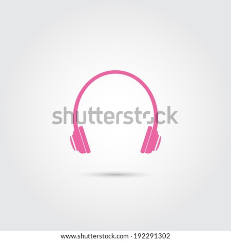 pink headphones icon   vector
