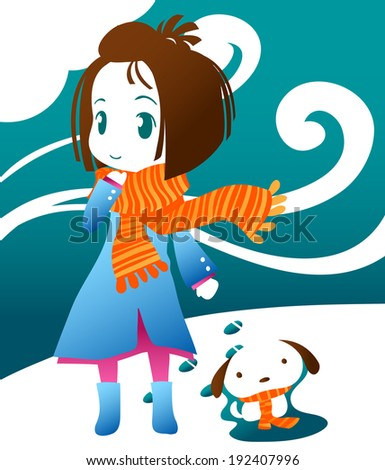 cute girl with dog in winter